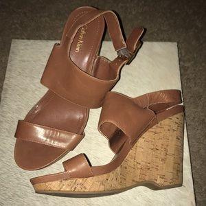 Calvin Klein Cork Wedge Sandals